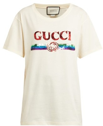 Gucci Sequin-embellished Logo Cotton-jersey T-shirt - Ivory Multi