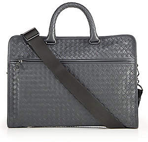 Bottega Veneta Men's Leggeron Intrecciato Leather Briefcase