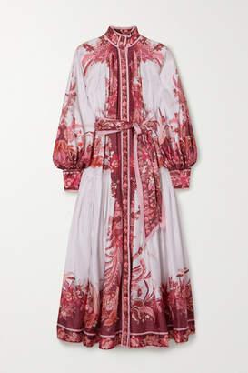 Zimmermann Belted Printed Silk Midi Dress - Magenta