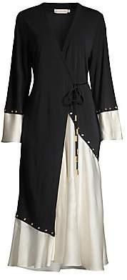 Tory Burch Women's Mixed Material Wrap Dress