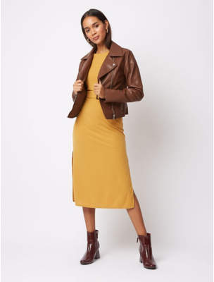 George Chocolate Brown Faux Leather Biker Jacket