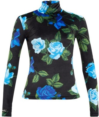 Richard Quinn High-neck Floral-print Velvet Top - Blue Print