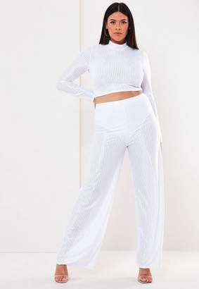 Missguided Plus Size White Co Ord Sheer Panel Ribbed Wide Leg Pants