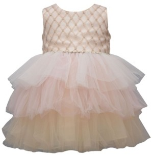 Bonnie Jean Toddler Girl Sleeveless Embroidered Bodice Party Dress With Multi Colored Tiered Mesh Skirt