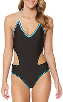 Jessica Simpson Woodstock Solid Reversible Cut-Out One-Piece