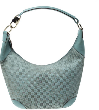 Gucci Dusty Green Square G Suede and Leather Hobo