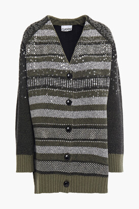Ganni Sequin-embellished Wool-blend Jacquard Cardigan