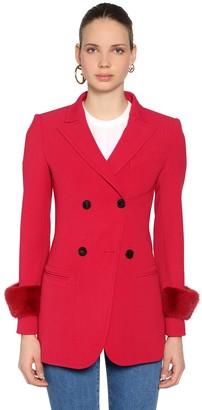 Fendi Stretch Wool Drill Blazer W/ Mink Fur