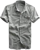 Qiuse Men's Basic Collared Short Sleeve Hidden-Button Linen Shirt