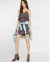 Express floral print ruffle overlay cami dress