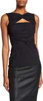 Chiara Boni Puk Sleeveless Shirred Cutout Top