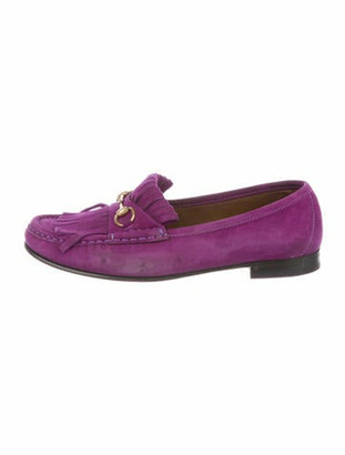 Gucci 1955 Horsebit Accent Suede Loafers Purple