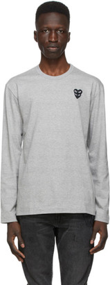 Comme des Garcons Grey Layered Double Heart Long Sleeve T-Shirt