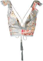 Zimmermann floral print cropped top - women - Cotton/Linen/Flax - 3