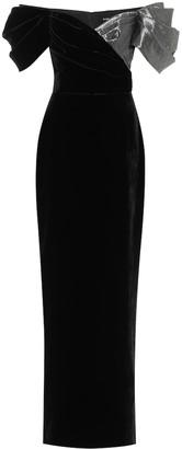 Rasario Velvet off-shoulder gown