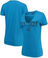 New Era Women's Blue Carolina Panthers Baby Jersey V-Neck Choker T-Shirt