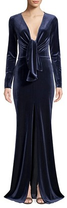PatBO Velvet Plunging Long Sleeve Gown