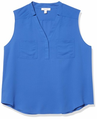 Nine West Women's Sleeveless Patch Pocket Blouse with Topstitch Detail