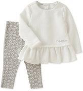Calvin Klein 2-Pc. Peplum Tunic & Leggings Set, Baby Girls (0-24 months)