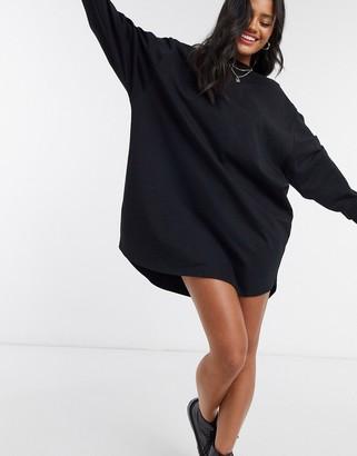 ASOS DESIGN oversized smock back sweat dress in black
