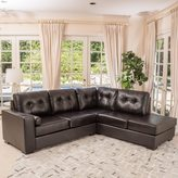 Christopher Knight Home Elisa 2-piece Brown Leather Sectional Sofa Set