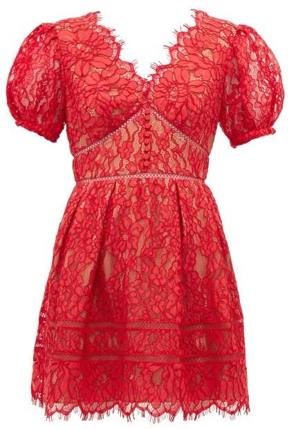 Self-Portrait Puffed-sleeve Guipure-lace Mini Dress - Red