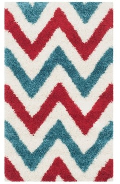 Safavieh Shag Kids Ivory and Red 3' x 5' Area Rug