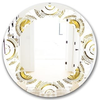 Design Art Designart Circular Golden Pattern I Modern Round Or Oval Wall Mirror Leaves Shopstyle