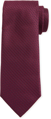 Canali Men's Star-Weave Silk Tie, Red