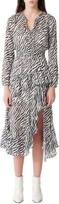Maje Ribou Zebra Print Long Sleeve Dress