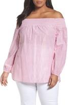 MICHAEL Michael Kors Plus Size Women's Off The Shoulder Shimmer Stripe Top