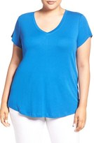 Sejour Plus Size Women's Short Sleeve V-Neck Tee