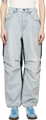 Alexander Wang Blue and Black Denim Hybrid Cargo Jeans