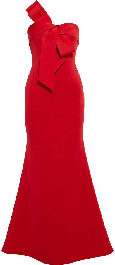 Thumbnail for your product : Badgley Mischka Strapless Bow-embellished Scuba Gown