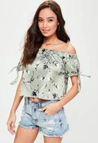 Missguided Petite Grey Satin Floral Bardot Top, Grey
