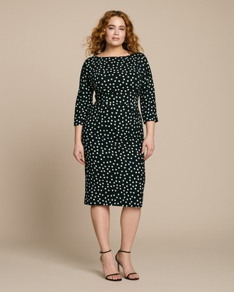Dolce & Gabbana Three-Quarter Sleeve Polkadot Sheath Dress