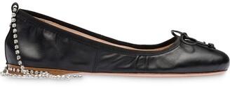 Miu Miu Crystal-Strap Ballerina Shoes