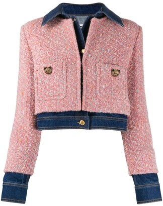 Moschino Tweed-Overlay Denim Jacket