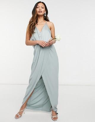 TFNC bridesmaid satin halterneck top maxi dress in sage