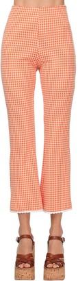 Miu Miu Check Flared Stretch Knit Pants