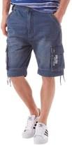 Firetrap Mens Eleko Denim Cargo Shorts Midwash
