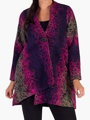 chesca Chesca Asymmetric Embroidered Coat, Grape/Pink