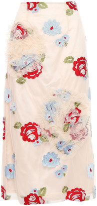 Simone Rocha Embroidered Ruffle-trimmed Tulle Midi Skirt