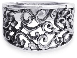 Aeravida Handmade Intricate Vintage Inspiration Wide Swirl .925 Sterling Silver Ring
