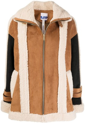 Sjyp Shearling Panelled Jacket