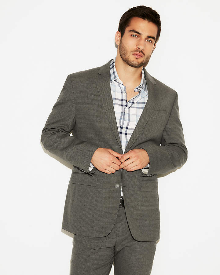 Express Classic Check Wool-Blend Stretch Suit Jacket