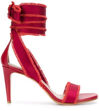 RED Valentino Ankle Tie Frayed Sandals