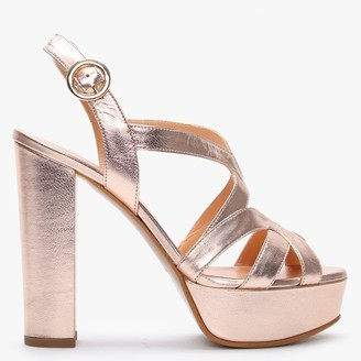Daniel Prancing Rose Gold Leather Platform Sandals