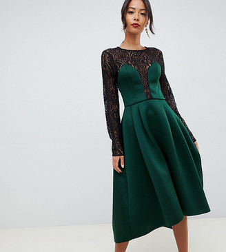 Asos Tall DESIGN Tall long sleeve lace top prom midi dress-Green