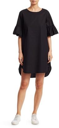 See by Chloe Ruffle Lace Eyelet-Sleeve Poplin Shift Dress